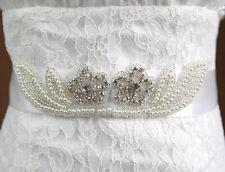 Accessoires mariage: Ceinture robe de mariée ruban doubles fleurs strass perles