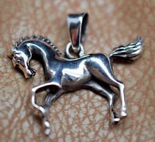 Running Horse Pendant Textured Mane and Tail Handcrafted 925 Sterling Silver 3D