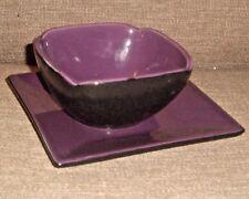 Partylite Zen Purple Black Bowl Plate Candle Holder Set