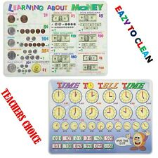 Painless Learning Educational Placemats For Kids Time And Money 2 Pack Laminated