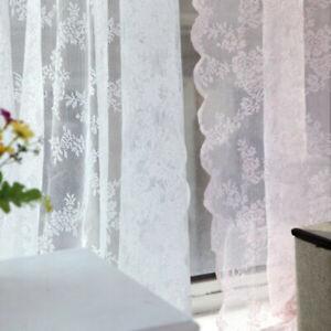 2 Stück Stickerei Spitze Fensterschirm Jacquard Vorhang Pastoral Stil Vorhänge