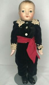 """19""""Antique Unmarked Metal Head Shoulder Plate  Cloth Body Doll Nicely Dressed"""
