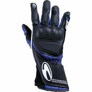 Richa WSS Leather Sports Summer Racing Motorcycle Motorbike Gloves - Black/Blue