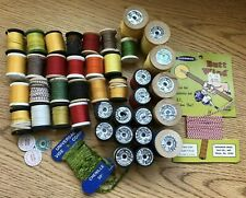Fly Tying Thread Lot Gude-Wind/Nylon/Others 41 Spools & Cards Chenille, Cording