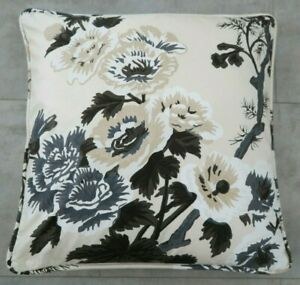 SCHUMACHER FABRIC PIPED CUSHION COVER DESIGN Pyne Hollyhock 100% COTTON CHARCOAL