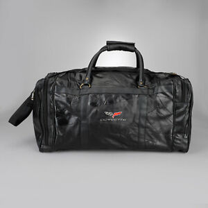 """2005-2013 Corvette C6 Deluxe Leather Travel Bag 25"""" w/ Embroidered Logo 620240"""