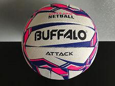 Brand New Buffalo Premium Grade Rubber White/Pink/Purple Size 5 Netball Attack