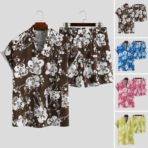 2PCS Men Short Sleeve V Neck Floral Sleepwear Nightwear Lounge Sleep Pajamas Set