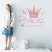 The Princess Sleeps Here Cute Wall Art Sticker Room Decor Removable Home Decal
