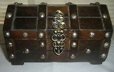 Vintage Wooden Treasure Chest Jewelry, Trinket Box