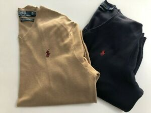 MENS V NECK POLO RALPH LAUREN JUMPERS / X 2 / SIZE *** LARGE ***