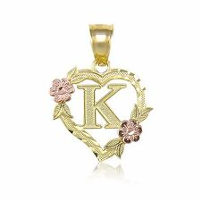 Letters numbers words fine necklaces pendants ebay 10k yellow gold heart initial letter pendant a z alphabet flower necklace charm aloadofball Images