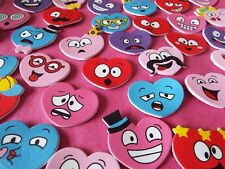 40 x Quirky Heart Shaped Foam Stickers with different faces - Kids craft/rewards