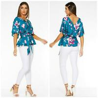 QUIZ Womens Turquoise Teal Floral V Neck Batwing Top Short Sleeve Blouse