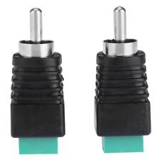 2pcs Speaker Wire Cable to Audio Male RCA Connectors Adapters Jack Plug S1#