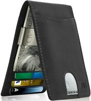 Real Leather Slim Wallets For Men With Money Clip RFID Card Holder Mens Wallet
