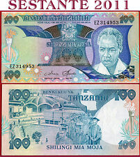 (com) TANZANIA - 100 SHILLINGS nd 1985 (islands omitted on map)  -  P 11  -  XF