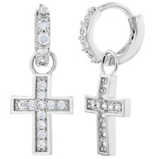 "Rhodium Plated Clear CZ Dangle Religious Cross Small Hoop Huggie Earrings 0.39"""