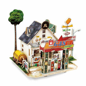 3D Wooden Puzzle Petrol Station Model DIY Building Kits Jigsaw Toy Gift Boy Girl