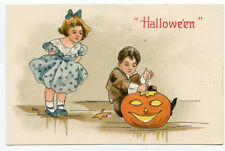 HBG Halloween Boy Carving Pumpkin with Girl