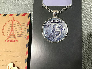 Silver Plated Aus Post Stamp Art Kookaburra Pendant/Chain Australian Hand Made