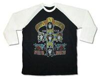 Guns N Roses 1988 Tour Reissue Black Jersey Raglan Shirt New Official Appetite