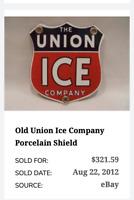 "VINTAGE THE UNION ICE COMPANY SHIELD 11 3/4"" PORCELAIN METAL GASOLINE & OIL SIGN"
