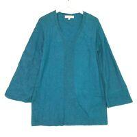 Loft ribbed v neck flare bell sleeve knit sweater teal size medium