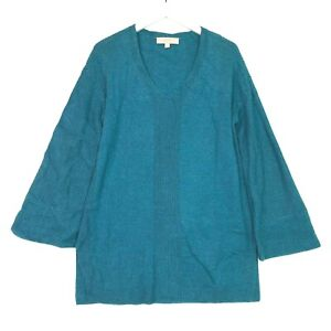 Loft ribbed v neck flare bell sleeve knit sweater teal size medium