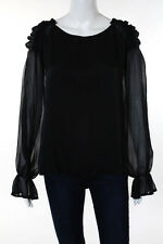 Elie Tahari Black Silk Pull Over Long Sleeve Scoop Neck Blouse Size Extra Large
