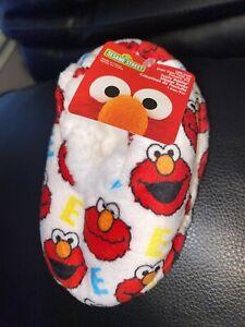 Elmo Footie Slippers Socks Size 12M to 24M Infant Baby Fuzzy w/ Grips