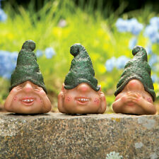 "Set of 3 ""SEE, SPEAK & HEAR NO EVIL"" Cute Little Gnomes Garden Statues"