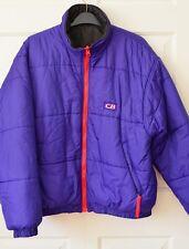 Vtg CB Sports Ski Jacket Reversible Winter Puffer Purple/ Red & Black ~Sz L