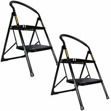 2 Step Steel Ladder Portable Foldable With Non Slip Mat for Kitchen Pack of 2