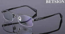 Men's Pure Titanium Gunmetal Eyeglass Frames Glasses Half Rimless Spectacles Rx