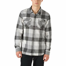 2017 NWT MENS VANS BOX FLANNEL SHIRT $50 M marshmallow/frosty grey long sleeve