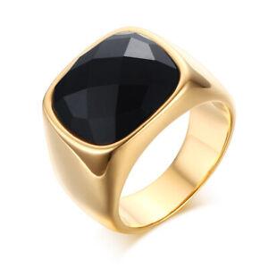Anello Quadrato oro Uomo Acciaio Inox Chevalier Con Pietra Sigillo semplice