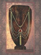 Gold Chain & Gemstone Cabochon Festoon Victorian Tudor Revival Necklace 2113