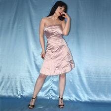 a942f2ecb Rosa Antiguo Satén Vestido de Cóctel XS 34 Brillante Noche Fiesta Bandeau