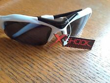 SUNGLASSES X SHOCK AVIATOR SPORTS STYLE BLACK & WHITE FRAME BLACK LENS #011-B