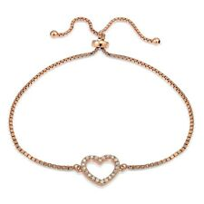 Rose Gold Tone over Sterling Silver Cubic Zirconia Open Heart Adjustable Bracele