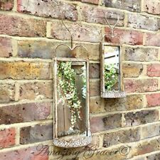 Set 2 Antique French Vintage Style Metal Garden Wall Mirrors Rustic Shabby Chic