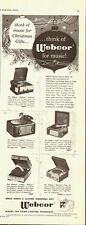 1952 Vintage ad for Webcor Makes the Long-Lasting Fonograf/Multiple Models