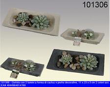 Ciotola decorativa 11x23x3, in due assortimenti con candela a forma di cactus