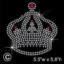 'Crown' Rhinestone/Diamante Transfer Hotfix Iron on Motif Appliqué + Free Gift