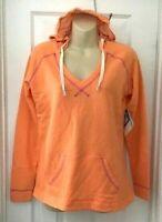 Columbia PFG Women Hoodie Size Large Orange Tropic Haven Sweatshirt Terry Cloth