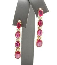 6.95 Carat Natural Red Ruby and Diamond in 14K Solid Yellow Gold Stud Earrings