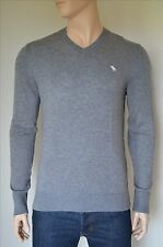 NEW Abercrombie & Fitch Icon Wool-Blend V-Neck Sweater Jumper Grey M
