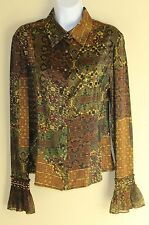 Carlisle -Sz 2 Incredible Art-to-Wear Amazing Luxury Deep Print Silk Blouse Top