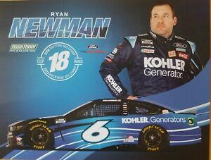 2021 RYAN NEWMAN #6 KOHLER GENERATORS NASCAR POSTCARD